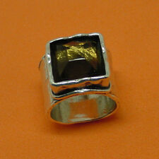 SILPADA HAMMERED WIDE BAND STERLING SILVER RING WITH SMOKY QUARTZ VERY NICE!