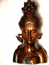 **NYANA TILEM GALLERY**BALINESE WOMAN BUST**MASTER CARVED**EXTREME DETAIL**LOOK*