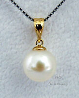 HS Round 10mm South Sea Cultured Pearl Pendant 18K Yellow Gold AAA Grading