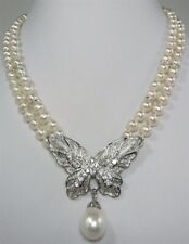 2 Rows 7-8mm Real White Pearl 18KWGP Crystal Butterfly Clasp Pendant Necklace