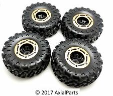 (4) HSP 1/10 Scale Rock Crawler 2.2 Beadlock Wheels, Tires, Metal Rings 12mm Hex