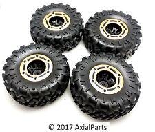 "(4) HSP 1/10 Scale Rock Crawler 2.2"" Tires & Beadlock Wheels w/ Metal Rings 12mm"