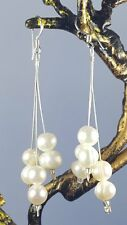 Real Fresh Water Pearl Earrings Triple Strand Drop Dangle Sterling Silver Hooks