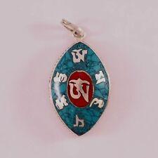 Delicate Tibetan Turquoise Red Coral Inlay Om Mani Oval Ghau Prayer Box Pendant