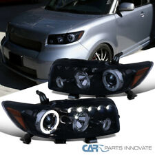 For Scion 08-10 xB LED Halo Glossy Black Projector Headlights Smoke Head Lamps