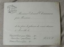 CHASSE A TIR rare carton d'invitation Clémençon  Chateau des Bordes Ponthierry