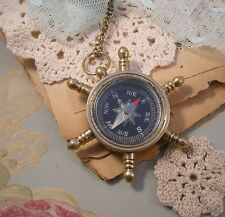 Medium Pirate COMPASS Steering Wheel Chain Nautical Brass Pendant Charm Necklace
