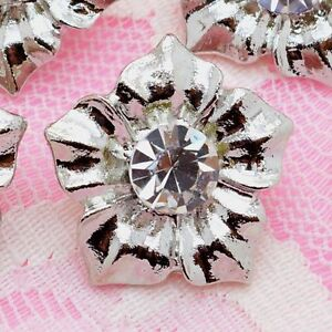 10 Lovely Sparkling Clear Crystal/Glass Silver Metal Sewing Wedding Buttons N118