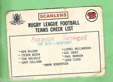 1975  NEWTOWN JETS  RUGBY LEAGUE CHECKLIST CARD, MARKED