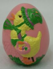 """Vintage Hand Painted Ceramic Easter Egg Pink with Duckling and Basket 3"""""""