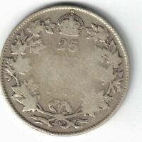 CANADA 1927 TWENTY FIVE CENTS QUARTER KING GEORGE V STERLING SILVER COIN