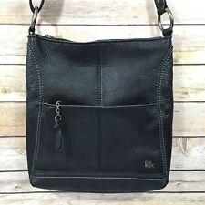 The SAK Crossbody Satchel Bag Pebbled Leather Black Adjustable Strap Zip Closure
