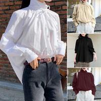 ZANZEA UK Womens Mock Neck Long Sleeve Shirts Tee Tops Casual Loose Basic Blouse