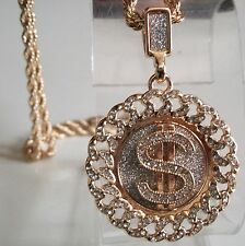 Gold finish $ dollar sign hip hop bling rapper style fashion pendant with chain
