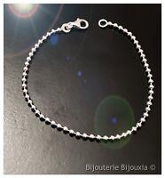 Bracelet Fin Maille Boule Argent Massif 925/000 Bijoux Femme