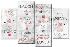 HAVE HOPE BE STRONG POSITIVE QUOTE CANVAS RED WHITE GREY BLACK 4 PANEL ART 100cm