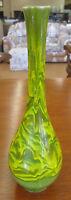 "Vintage 10.25"" Teardrop Green Yellow Swirl Drip Glaze American Pottery Vase"