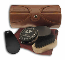 Shoe Cleaning Care Kit - Brown Leatherette Barrel  Case ideal for travel  20755