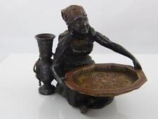 COLD PAINTED BRONZE ARABIC WOMAN FIGURINE SERVING TRAY