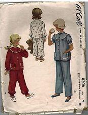8306 Vintage McCalls Sewing Pattern 1950's Two Piece Pajama Pants Shirt Girls 4