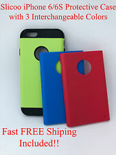 iPhone 6 6S Authentic Slicoo Dual Layer Protective Case Cover Green Red Blue