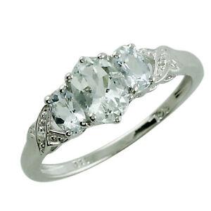 Aquamarine Gemstone Anniversary Jewelry 925 Sterling Silver Ring
