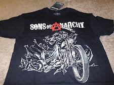 Sons of Anarchy Mens SOA Skull Black Bike Biker Grim Reaper T-Shirt Size Medium
