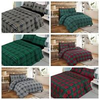 New Duvet Quilt Cover 100% Brushed Cotton Flannelette Warm Bed Set Tartan Check