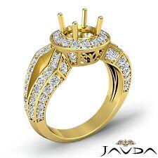Halo Round Semi Mount Diamond Engagement Split Shank Ring 18k Yellow Gold 1.42Ct