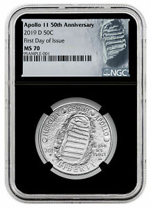 2019-D Apollo 11 50th Clad Half Dollar NGC MS70 First Day Of Issue Black Core