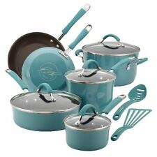 Nonstick Cookware Set 12 Pc Oven Safe Blue Porcelain Enamel Lid Pots Rachel Ray