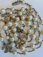 CHANEL CLASSIC LONG WHITE PEARL EMBELLISHED CC  NECKLACE