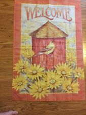 """New listing Welcome Flag with Bird And Birdhouse 29""""X43"""" Jane Shasky"""