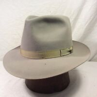 Vintage Grey Royal Stetson Playboy Fedora Hat with Grey Band -- Size 7 1/8