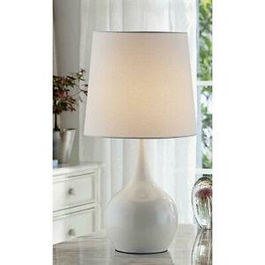 Niyor 23.5 in. Powder White metal 3 way Touch-On Table Lamp