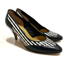 GUCCI - VTG Classic Black White Striped Woven Leather High Heel Pumps 6 36.5