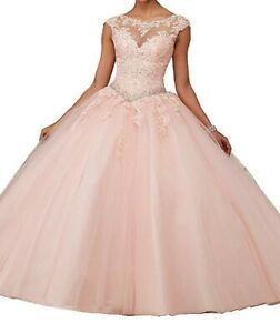 beutiful women party quinceanera dresses long COLOUR PINK SIZE M perfect.