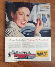 1958 Chevrolet Bel Air Hertz Rent A Car Ad  Happy Wife Husband Leaves Family Car