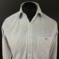 Lacoste Mens Shirt 38 (SMALL) Long Sleeve White Regular Fit Check Cotton
