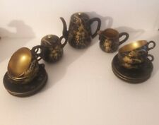 Japanese Black Gold Lacquer Ware Kiku Chrysanthemum Tea Set