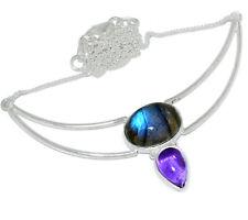Labradorite & Amethyst 925 Sterling Silver Necklace Jewelry SN18281
