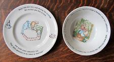 Wedgwood Peter Rabbit Child's 2 Pcs Plate Bowl Beatrix Potter Excellent