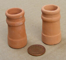 1:12 Med Round Terracotta Chimney Pots (2) Dolls House Miniature Accessory 659