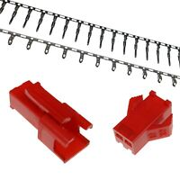 2-Pin Red SM 2.5mm Connector Sets Male/Female Housing + Crimps (JST SM Style)