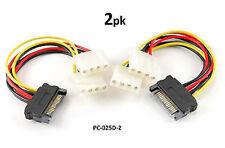 "2-PACK 6"" SATA 15-Pin Male to Dual 4-Pin Molex Y Power Splitter - PC-025D-2"
