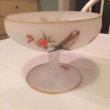 NORLEANS Frosted Glass Stem Dish~Birds,Gold Gilt & Pink Flowers