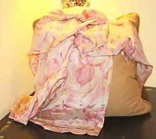 BREATHTAKING LARGE ANTIQUE PURE SILK ORCHID FLORAL SCARF/ WRAP   125 YEARS +