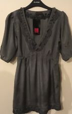 Bnwt Ladies Khaki & Black Lace 1/2 Sleeved Blouse Top Size 10 Miss Selfridge
