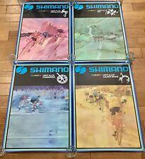4 Original Vintage Shimano Cycling Advertising Posters Dura-Ace Crane Rare Bike