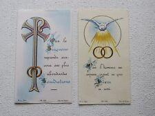 LOT de 2 IMAGES PIEUSES, MARIAGE - UNIS DEVANT DIEU - 1962